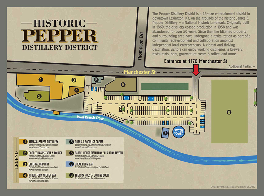 The Pepper Distillery District is a 25 acre